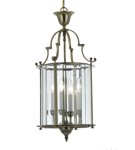 Crystorama Camden 4 Light Foyer Lantern in Antique Brass 945-AB photo