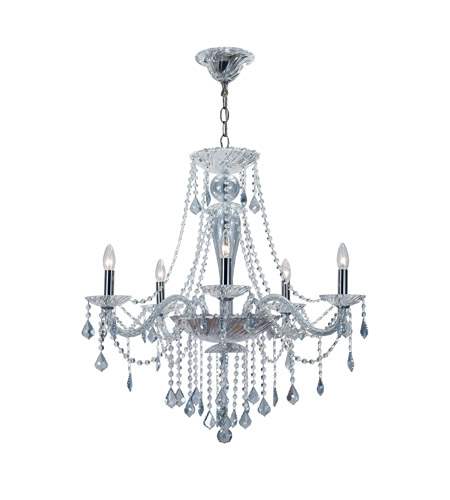 Crystorama 9836-CH-IB Simone 5 Light 27 inch Polished Chrome Chandelier Ceiling Light in Ice Blue (IB), Hand Cut, Polished Chrome (CH) photo