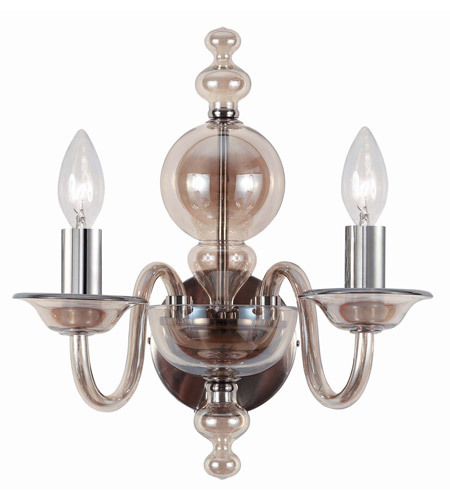 Crystorama 9842-CH-CG Harper 2 Light 12 inch Polished Chrome Wall Sconce Wall Light photo