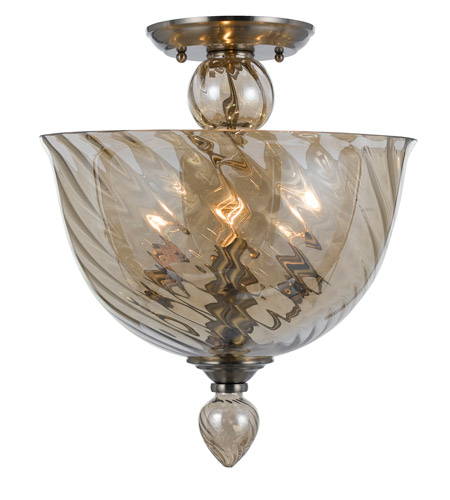 Crystorama 9843-CH-CG Harper 3 Light 14 inch Polished Chrome Semi Flush Mount Ceiling Light photo