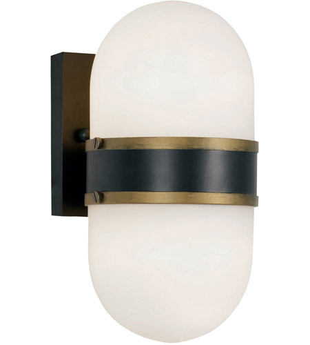 Crystorama CAP-8502-MK-TG Capsule 2 Light 11 inch Matte Black and Textured Gold Outdoor Wall Mount, Brian Patrick Flynn photo