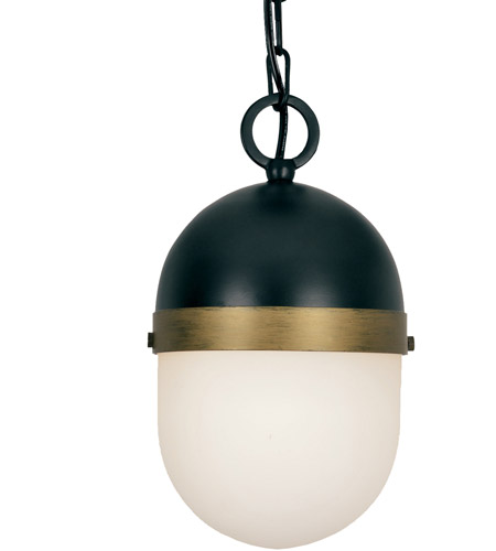 Crystorama CAP-8505-MK-TG Capsule 1 Light 6 inch Matte Black and Textured Gold Outdoor Pendant, Brian Patrick Flynn photo
