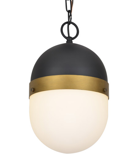 Crystorama CAP-8507-MK-TG Capsule 1 Light 8 inch Matte Black and Textured Gold Outdoor Pendant photo