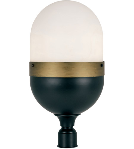 Crystorama CAP-8509-MK-TG Capsule 3 Light 23 inch Matte Black and Textured Gold Outdoor Lantern Post, Brian Patrick Flynn photo