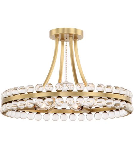 Crystorama CLO-8894-AG Clover 4 Light 18 inch Aged Brass Semi Flush Mount Ceiling Light in Aged Brass (AG) photo