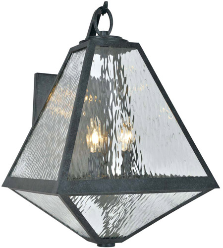 Crystorama GLA-9702-WT-BC Glacier 3 Light 21 inch Black Charcoal Outdoor Wall Mount in Water photo