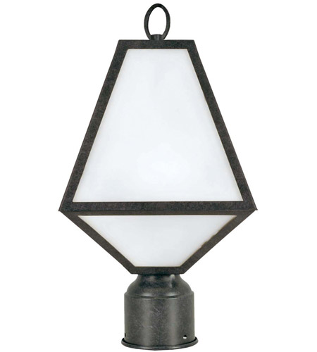 Crystorama GLA-9707-OP-BC Glacier 1 Light 14 inch Black Charcoal Outdoor Lantern Post in Opal Frosted photo