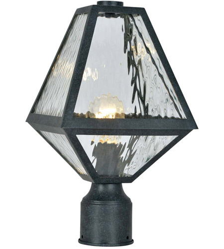 Crystorama GLA-9707-WT-BC Glacier 1 Light 14 inch Black Charcoal Outdoor Lantern Post in Water photo