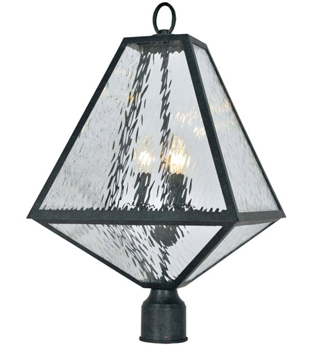 Crystorama GLA-9709-WT-BC Glacier 3 Light 21 inch Black Charcoal Outdoor Lantern Post in Water photo