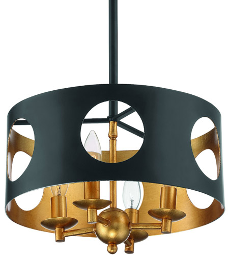 Crystorama ODE-700-BK-GA Odelle 4 Light 14 inch Matte Black and Antique Gold Pendant Ceiling Light photo