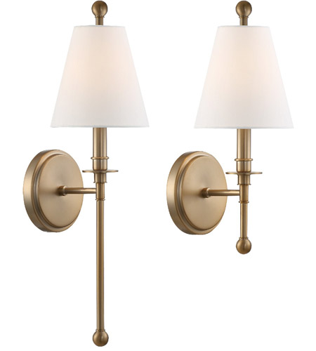 Crystorama RIV 382 AG Riverdale 1 Light 6 Inch Aged Brass Wall Sconce Wall  Light In Aged Brass (AG)