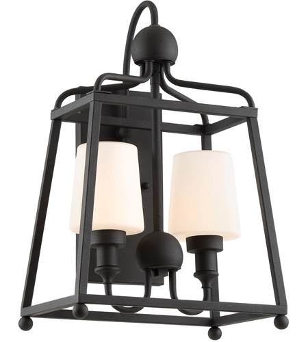 Crystorama SYL-2282-OP-BF Sylvan 2 Light 18 inch Black Forged Outdoor Wall Mount in Opal Frosted photo