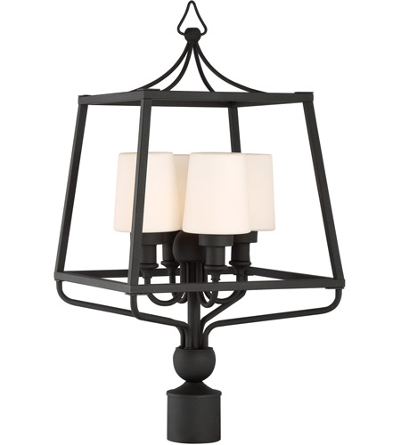Crystorama SYL-2289-OP-BF Sylvan 4 Light 26 inch Black Forged Outdoor Lantern Post in Opal Frosted photo