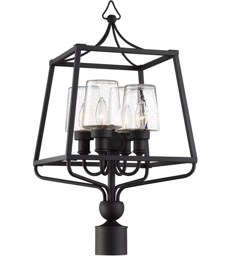 Crystorama SYL-2289-SD-BF Sylvan 4 Light 26 inch Black Forged Outdoor Lantern Post in Seeded photo