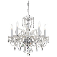 Traditional Crystal 5 Light 22 inch Polished Chrome Chandelier Ceiling Light in Hand Cut, Polished Chrome (CH)