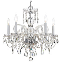 Traditional Crystal 5 Light 22 inch Polished Chrome Chandelier Ceiling Light in Polished Chrome (CH), Clear Swarovski Strass