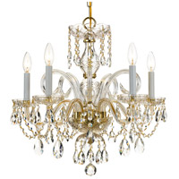 Traditional Crystal 5 Light 22 inch Polished Brass Chandelier Ceiling Light in Polished Brass (PB), Clear Hand Cut