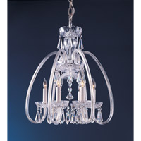 Traditional Crystal 6 Light 18 inch Polished Brass Mini Chandelier Ceiling Light