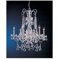 Traditional Crystal 6 Light 28 inch Polished Chrome Chandelier Ceiling Light in Polished Chrome (CH), Clear Hand Cut