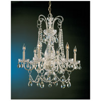 Traditional Crystal 6 Light 28 inch Polished Brass Chandelier Ceiling Light in Polished Brass (PB), Clear Swarovski Strass