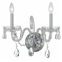 Crystorama Traditional Crystal 2 Light Wall Sconce in Polished Chrome with Hand Cut Crystals 1032-CH-CL-MWP