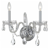 Traditional Crystal 2 Light 15 inch Polished Chrome Wall Sconce Wall Light in Swarovski Spectra (SAQ), Polished Chrome (CH)