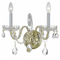 Traditional Crystal 2 Light 15 inch Polished Brass Wall Sconce Wall Light
