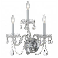 Traditional Crystal 3 Light 15 inch Polished Chrome Wall Sconce Wall Light in Polished Chrome (CH), Clear Hand Cut