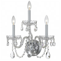 Crystorama Traditional Crystal 3 Light Wall Sconce in Polished Chrome with Swarovski Spectra Crystals 1033-CH-CL-SAQ