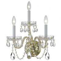 Traditional Crystal 3 Light 15 inch Polished Brass Wall Sconce Wall Light in Polished Brass (PB), Clear Hand Cut