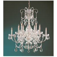 Crystorama Traditional Crystal 12 Light Chandelier in Polished Brass, Clear Crystal, Swarovski Spectra 1035-PB-CL-SAQ