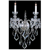 Traditional Crystal 2 Light 14 inch Polished Chrome Wall Sconce Wall Light in Polished Chrome (CH), 13.5-in Width