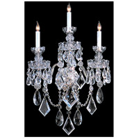 Traditional Crystal 3 Light 17 inch Polished Chrome Wall Sconce Wall Light in Polished Chrome (CH), 17-in Width