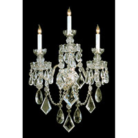 Traditional Crystal 3 Light 16 inch Polished Brass Wall Sconce Wall Light in Polished Brass (PB)
