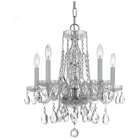 Traditional Crystal 5 Light 18 inch Polished Chrome Mini Chandelier Ceiling Light in Hand Cut, Polished Chrome (CH)