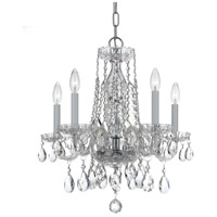 Traditional Crystal 5 Light 18 inch Polished Chrome Mini Chandelier Ceiling Light in Polished Chrome (CH), Clear Swarovski Strass