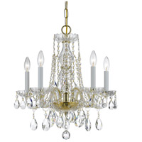 Traditional Crystal 5 Light 18 inch Polished Brass Mini Chandelier Ceiling Light in Hand Cut, Polished Brass (PB)