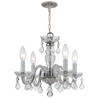 Traditional Crystal 4 Light 15 inch Polished Chrome Mini Chandelier Ceiling Light in Polished Chrome (CH), Clear Italian