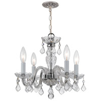 Traditional Crystal 4 Light 15 inch Polished Chrome Mini Chandelier Ceiling Light in Hand Cut, Polished Chrome (CH)