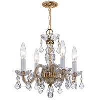 Traditional Crystal 4 Light 15 inch Polished Brass Mini Chandelier Ceiling Light in Hand Cut, Polished Brass (PB)