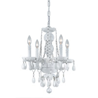 Crystorama Envogue 4 Light Mini Chandelier in Wet White, White Colored, Hand Cut 1074-WW-WH-MWP