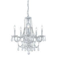 Crystorama 1076-WW-WH-MWP Envogue 6 Light 20 inch Wet White Chandelier Ceiling Light in White Colored (WH), Hand Cut