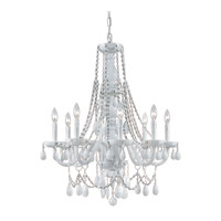 Envogue 8 Light 26 inch Wet White Chandelier Ceiling Light in White Colored (WH), Hand Cut