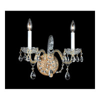 Crystorama Traditional Crystal 2 Light Wall Sconce in Polished Brass 1102-PB-CL-S