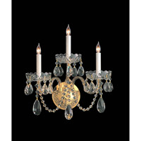 Crystorama Traditional Crystal 3 Light Wall Sconce in Polished Brass with Hand Cut Crystals 1103-PB-CL-MWP