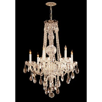 Traditional Crystal 6 Light 22 inch Polished Brass Chandelier Ceiling Light in Hand Cut, Polished Brass (PB)