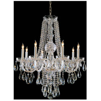 Traditional Crystal 8 Light 26 inch Polished Brass Chandelier Ceiling Light in Hand Cut, Polished Brass (PB)