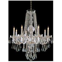 Crystorama Traditional Crystal 8 Light Chandelier in Polished Brass, Swarovski Spectra 1108-PB-CL-SAQ