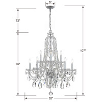 Traditional Crystal 10 Light 32 inch Polished Chrome Chandelier Ceiling Light in Polished Chrome (CH), Swarovski Spectra (SAQ)