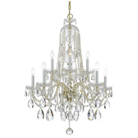 Traditional Crystal 10 Light 32 inch Polished Brass Chandelier Ceiling Light in Polished Brass (PB), Clear Swarovski Strass